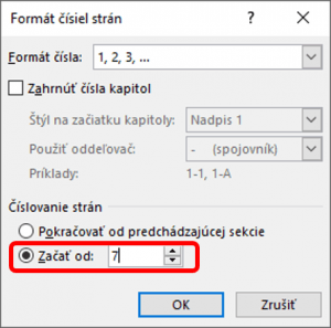 Číslovanie strany v sekcii