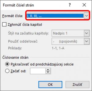 Dialógové okno pre nastavenie formátu čísla strany vo Worde